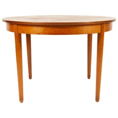 Vintage Danish Round Extendable Teak Dining Table, 1960s