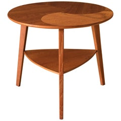 Vintage Danish Round Teak Side Table by Møbelintarsia