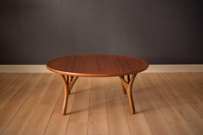 Scandinavian Modern Vintage Danish Sculptural Round Teak Coffee Table For Sale