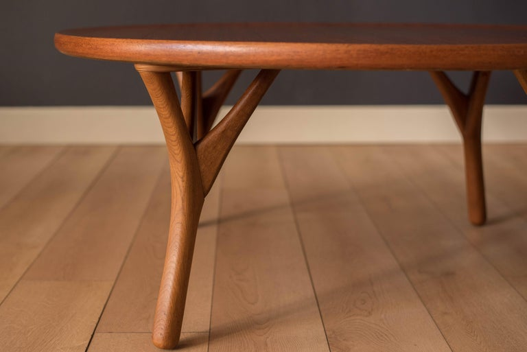 Mid-20th Century Vintage Danish Sculptural Round Teak Coffee Table For Sale
