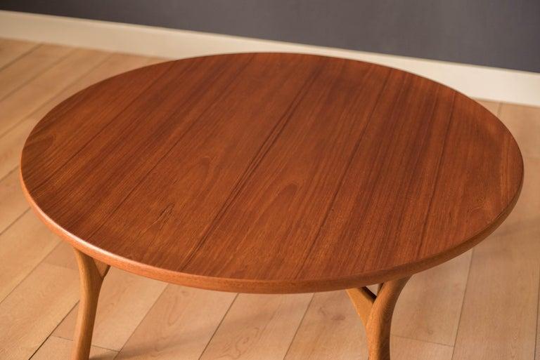 Oak Vintage Danish Sculptural Round Teak Coffee Table For Sale