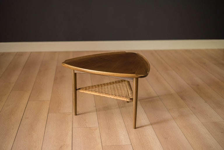 Scandinavian Modern Vintage Danish Selig Triangle End Table by Poul Jensen For Sale