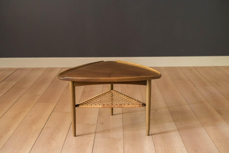 Vintage Danish Selig Triangle End Table by Poul Jensen In Good Condition For Sale In San Jose, CA