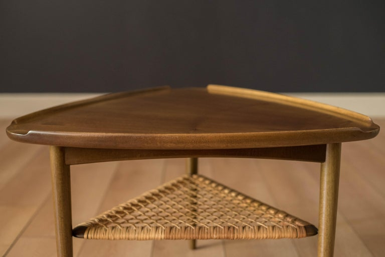 Cane Vintage Danish Selig Triangle End Table by Poul Jensen For Sale