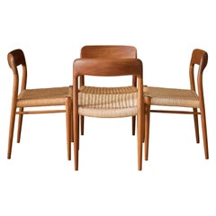 Vintage Danish Set of Four Teak Niels Moller 75 Dining Chairs