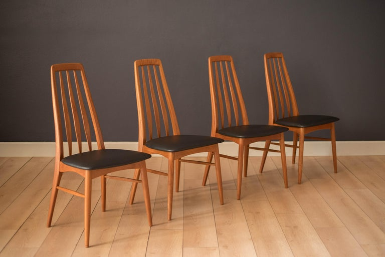 Vintage Danish Set of Six Teak Eva Dining Chairs by Niels Koefoed In Good Condition For Sale In San Jose, CA