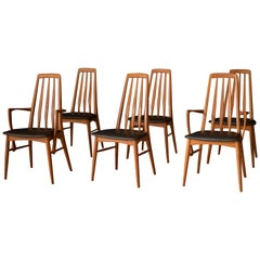 Vintage Danish Set of Six Teak Eva Dining Chairs by Niels Koefoed