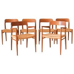 Vintage Danish Set of Six Teak Niels Moller 75 and 56 Dining Chairs