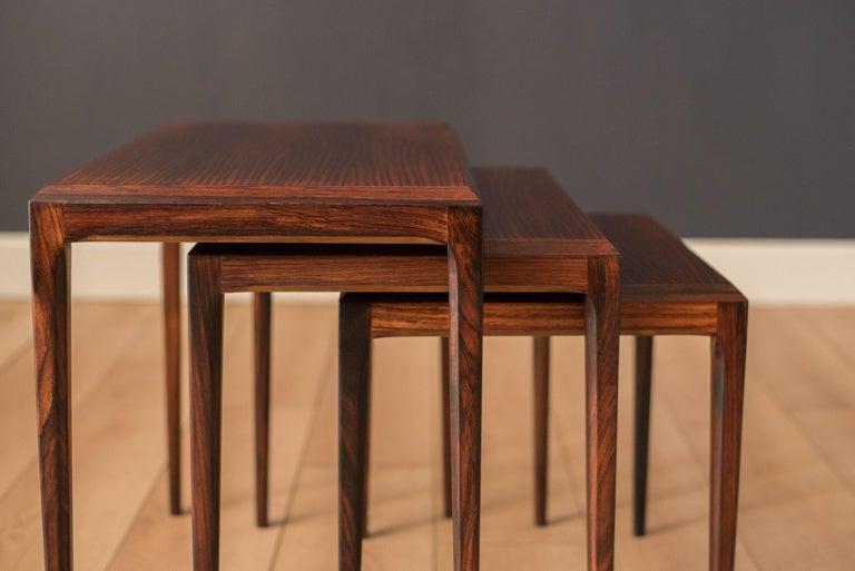 Vintage Danish Set of Three Rosewood Nesting End Tables by Johannes Andersen For Sale 4