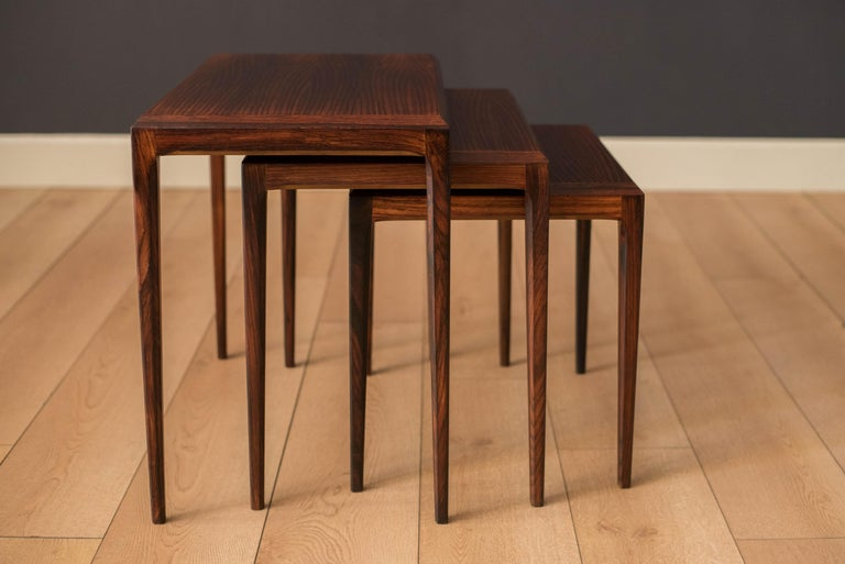 Vintage Danish Set of Three Rosewood Nesting End Tables by Johannes Andersen For Sale 5