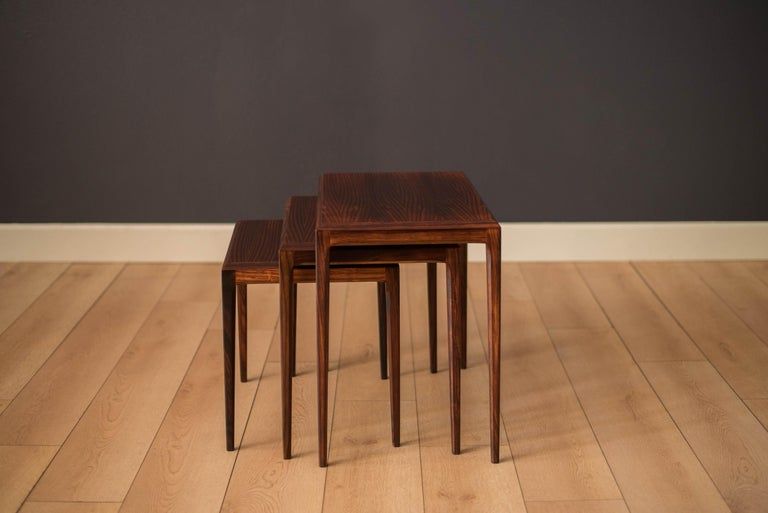 Scandinavian Modern Vintage Danish Set of Three Rosewood Nesting End Tables by Johannes Andersen For Sale