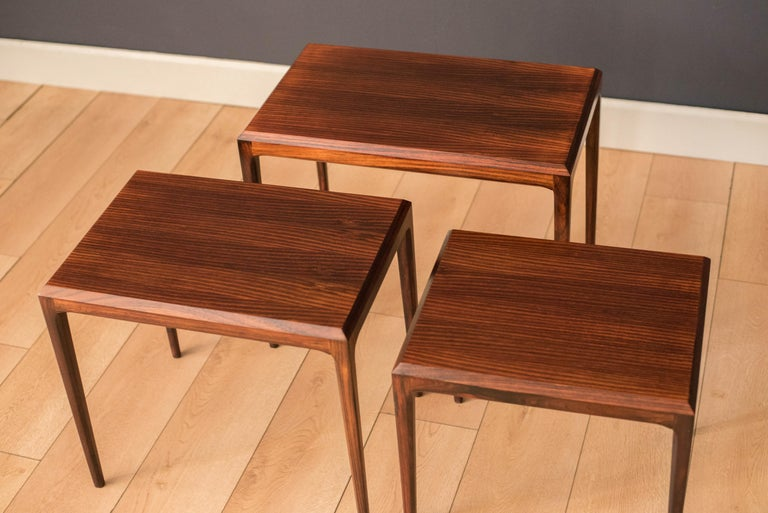 Vintage Danish Set of Three Rosewood Nesting End Tables by Johannes Andersen In Good Condition For Sale In San Jose, CA