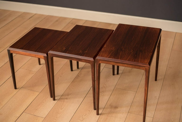Mid-20th Century Vintage Danish Set of Three Rosewood Nesting End Tables by Johannes Andersen For Sale