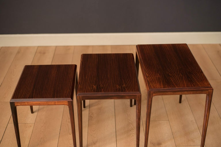Vintage Danish Set of Three Rosewood Nesting End Tables by Johannes Andersen For Sale 1