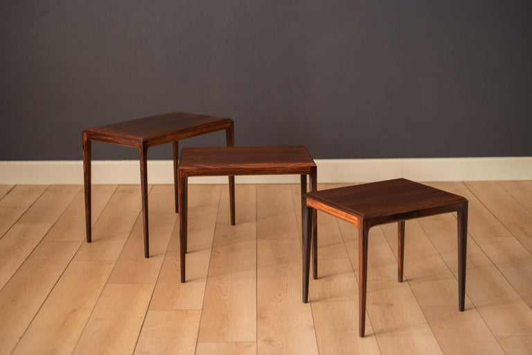 Vintage Danish Set of Three Rosewood Nesting End Tables by Johannes Andersen For Sale 2