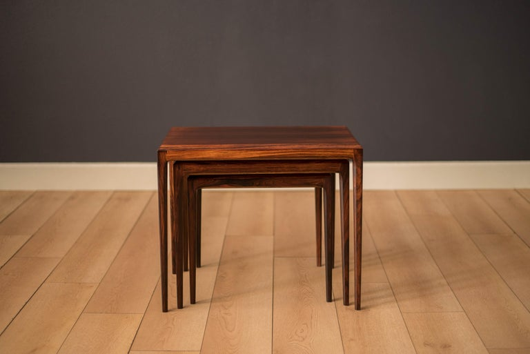 Vintage Danish Set of Three Rosewood Nesting End Tables by Johannes Andersen For Sale 3