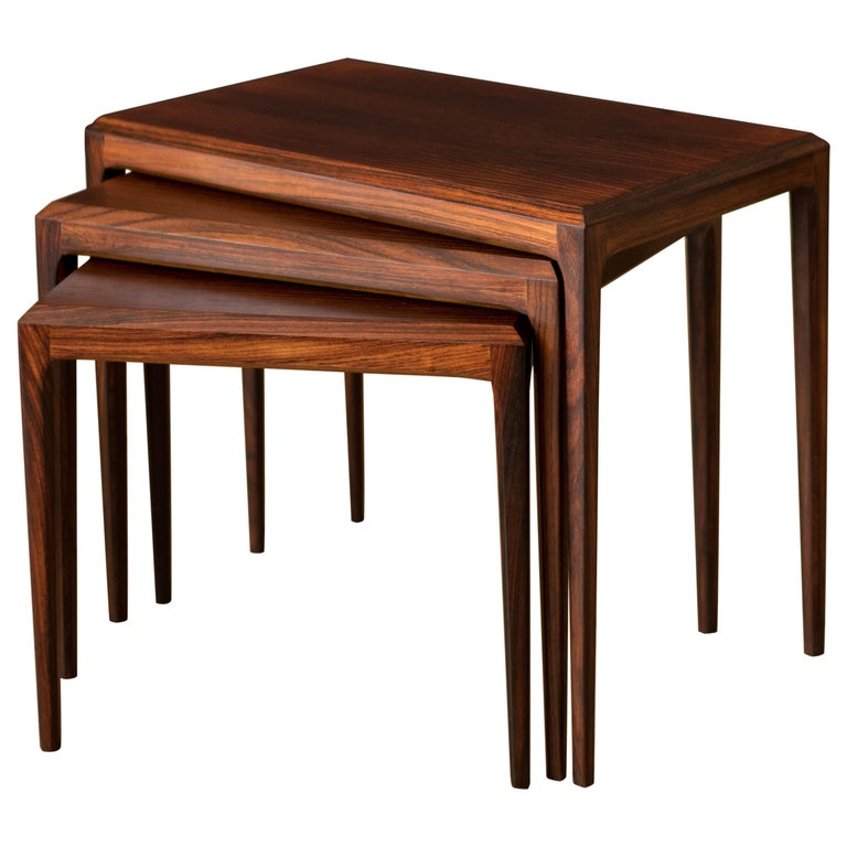 Vintage Danish Set of Three Rosewood Nesting End Tables by Johannes Andersen For Sale