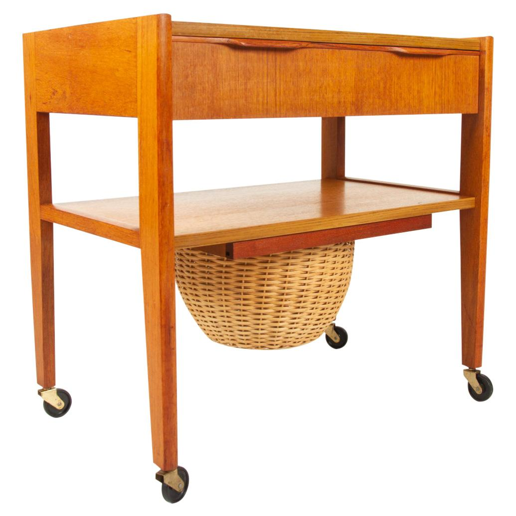 Vintage Danish Sewing Table, 1960s