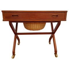 Vintage Danish Sewing Table, 1960s, Teak Wood, Rattan