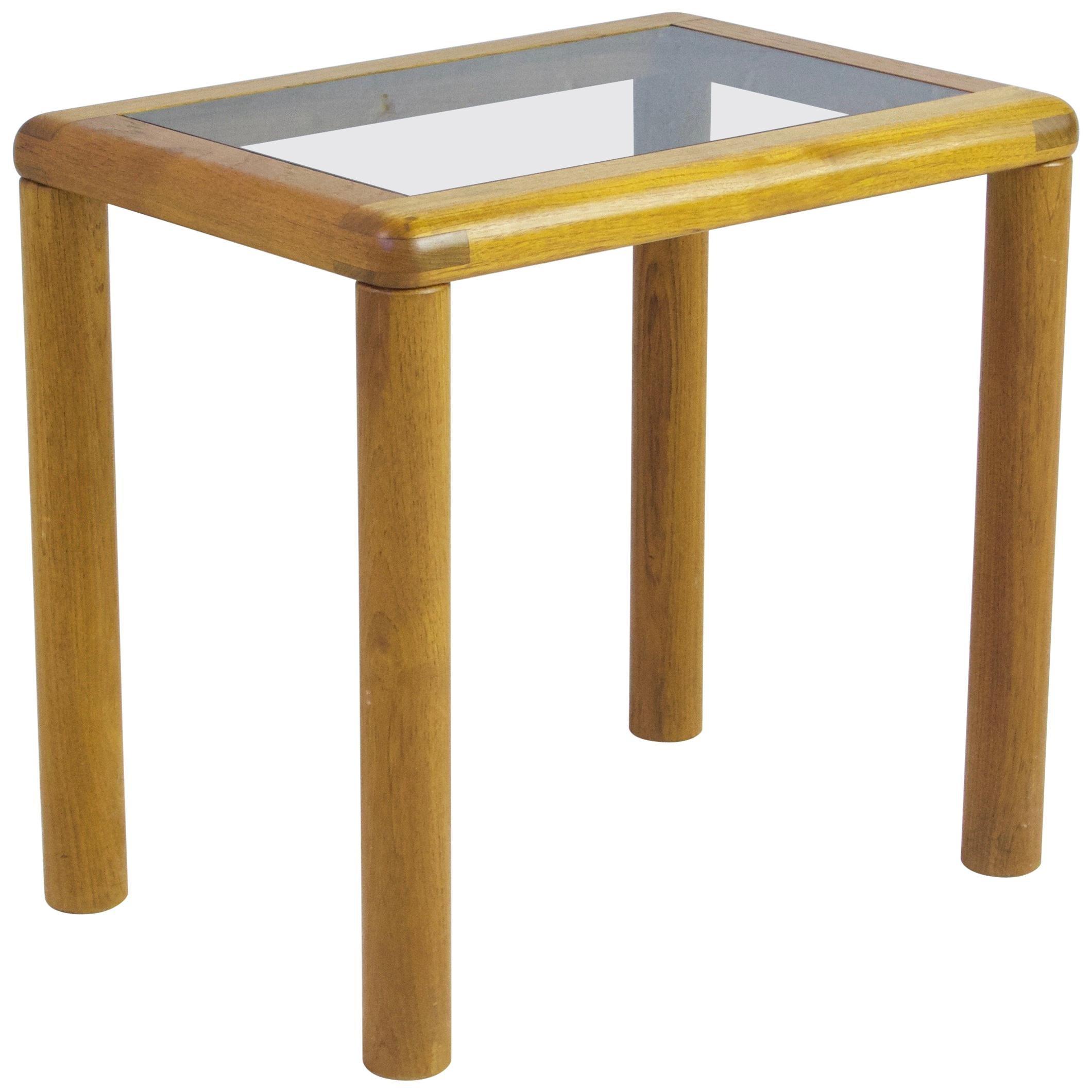 Vintage Danish Side Table in Teak with Turned Legs, 1960s