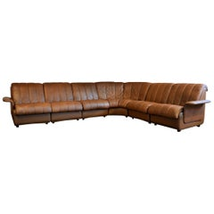 Vintage Danish Skipper Modular Leather Sofa