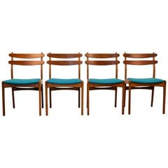 Vintage Danish Slagelse Teak/Oak Dining Chairs, Set of 4