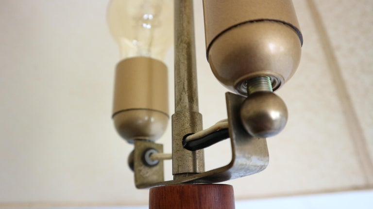 Vintage Danish Solid Teak and Leather Table Lamp from ESA, 1960s For Sale 12