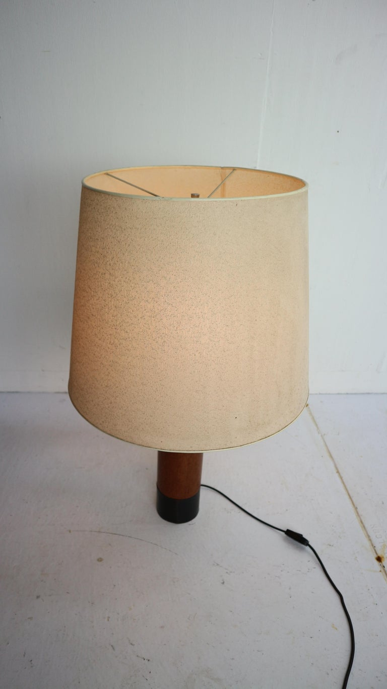Scandinavian Modern Vintage Danish Solid Teak and Leather Table Lamp from ESA, 1960s For Sale