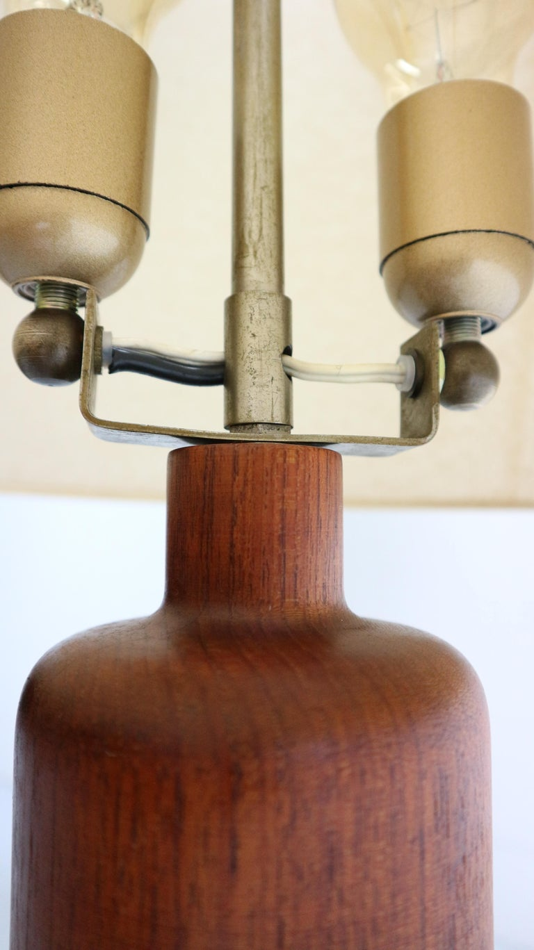 Vintage Danish Solid Teak and Leather Table Lamp from ESA, 1960s For Sale 3