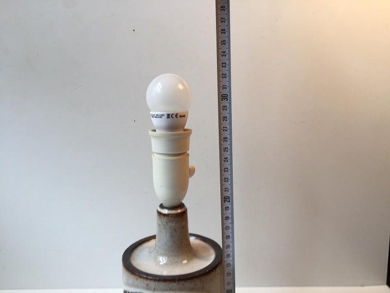 Glazed Vintage Danish Stoneware Table Lamp by H. Gottschalk-Olsen for Stogo, 1970s