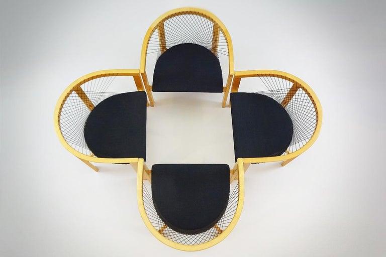Vintage Danish String Chairs by Niels Jørgen Haugesen for Tranekaer Furniture In Good Condition For Sale In Highclere, Newbury