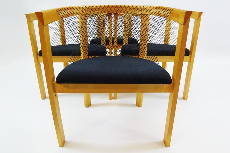 Late 20th Century Vintage Danish String Chairs by Niels Jørgen Haugesen for Tranekaer Furniture For Sale