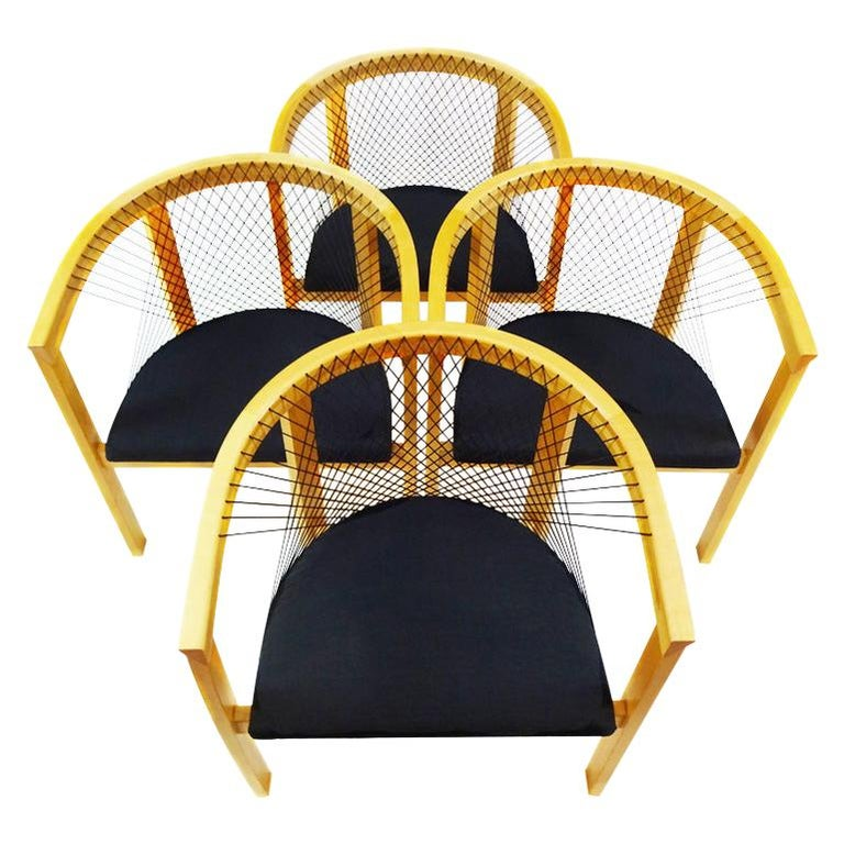 Vintage Danish String Chairs by Niels Jørgen Haugesen for Tranekaer Furniture For Sale