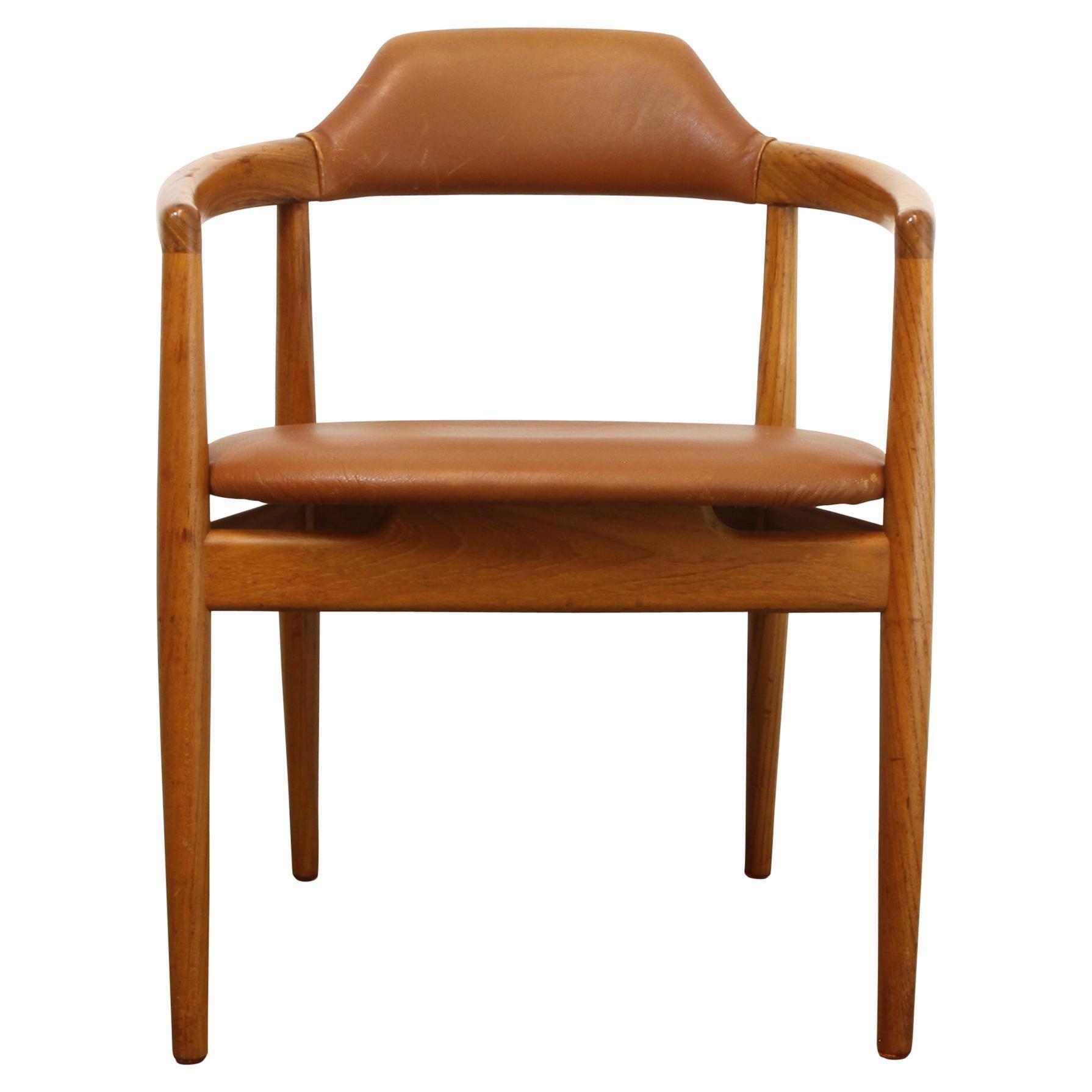 Vintage Danish Teak and Leather Armchair, 1960s