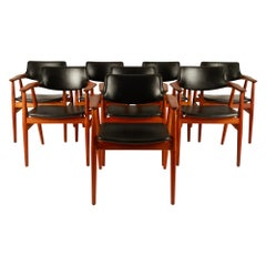Vintage Danish Teak Armchairs GM11 by Svend Aage Eriksen 1960s Set of 8