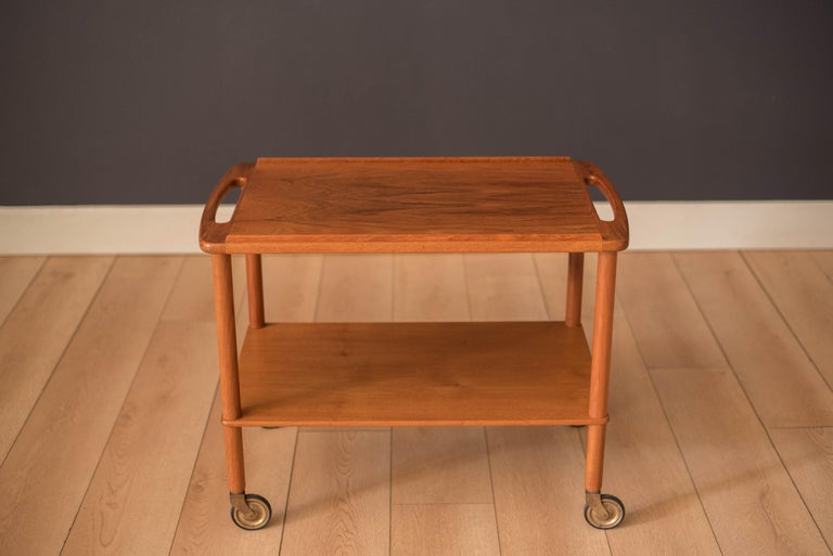 Scandinavian Modern Vintage Danish Teak Bar Cart by Bowa For Sale