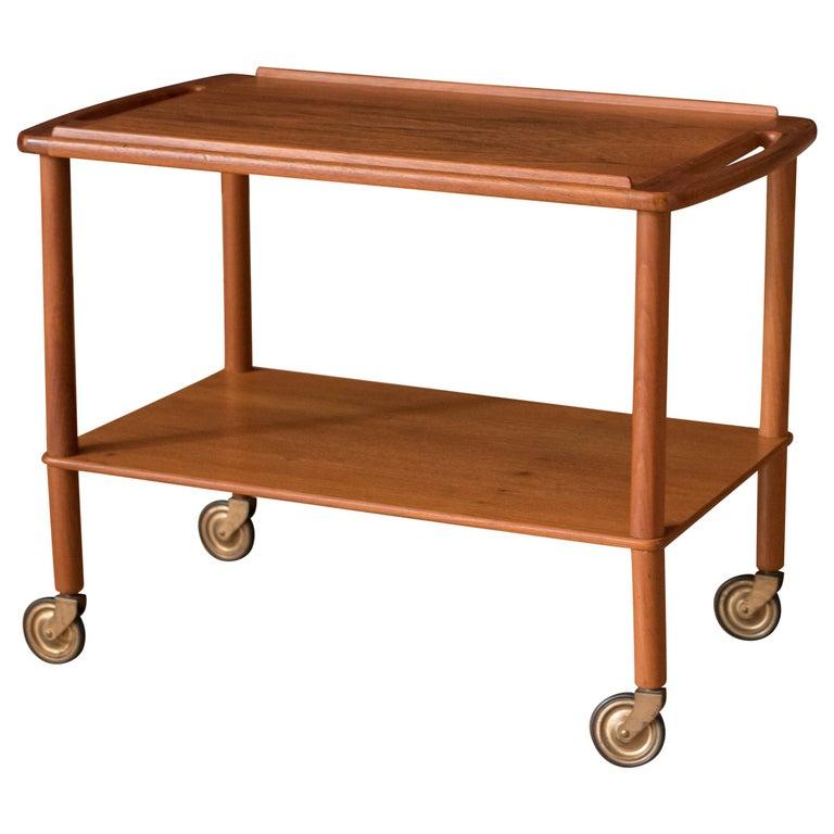 Vintage Danish Teak Bar Cart by Bowa For Sale