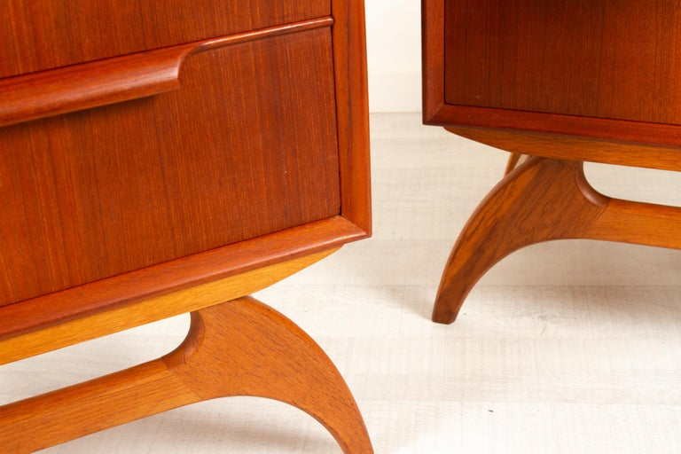 Vintage Danish Teak Bedside Tables 1960s, Set of 2 5