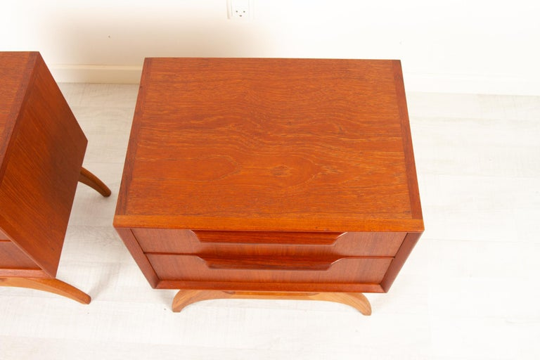 Vintage Danish Teak Bedside Tables 1960s, Set of 2 7