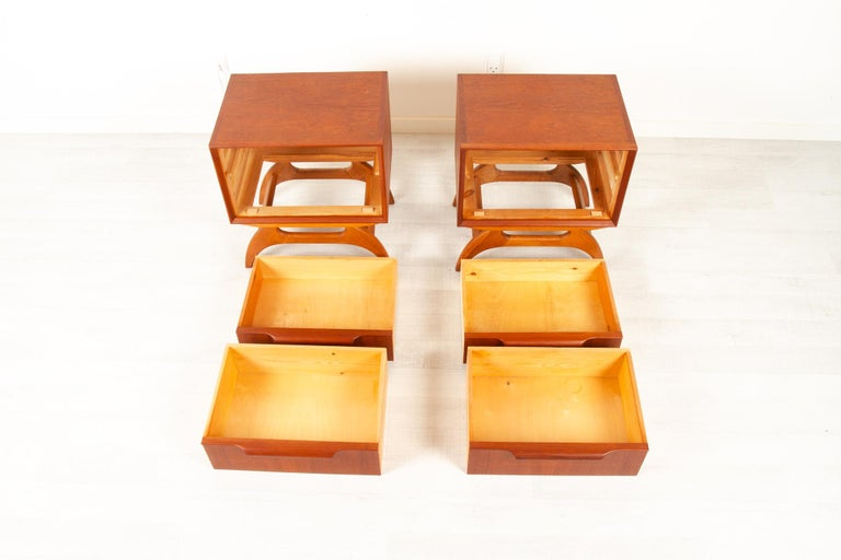 Vintage Danish Teak Bedside Tables 1960s, Set of 2 8