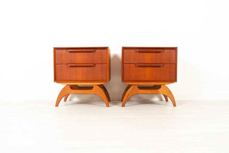 Vintage Danish Teak Bedside Tables 1960s, Set of 2 10
