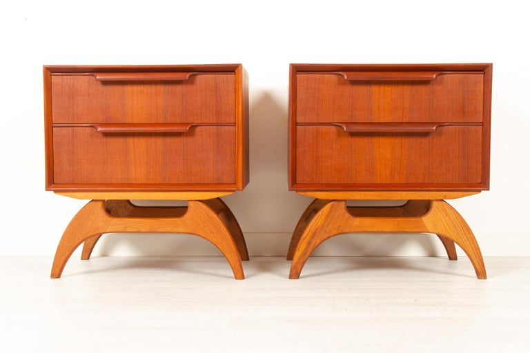 Vintage Danish teak bedside tables 1960s, set of 2.