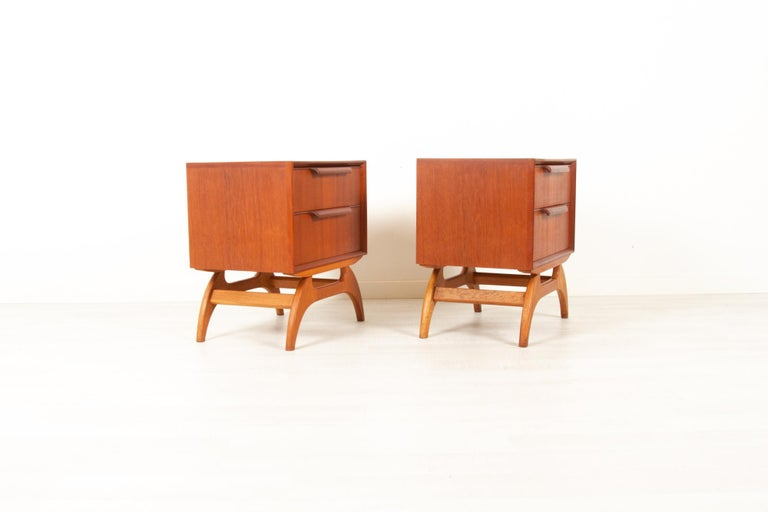 Mid-Century Modern Vintage Danish Teak Bedside Tables 1960s, Set of 2
