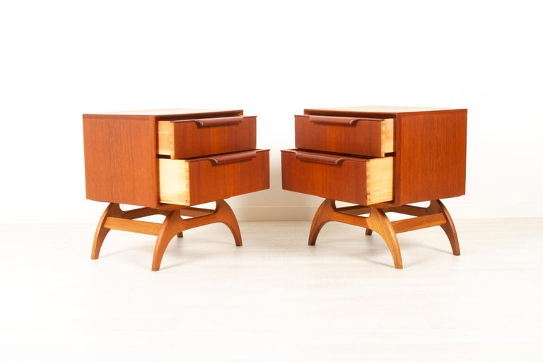 Mid-20th Century Vintage Danish Teak Bedside Tables 1960s, Set of 2