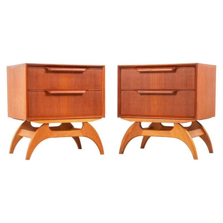 Vintage Danish Teak Bedside Tables 1960s, Set of 2