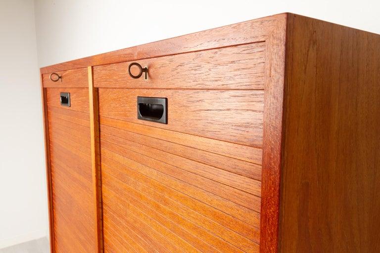 Vintage Danish Teak Cabinet with Tambour Doors, 1960s For Sale 5