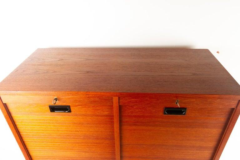 Vintage Danish Teak Cabinet with Tambour Doors, 1960s For Sale 8
