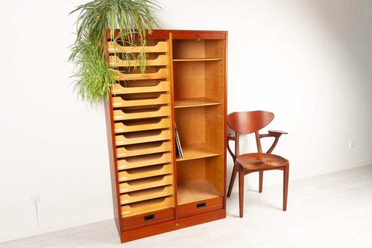 Vintage Danish Teak Cabinet with Tambour Doors, 1960s For Sale 11