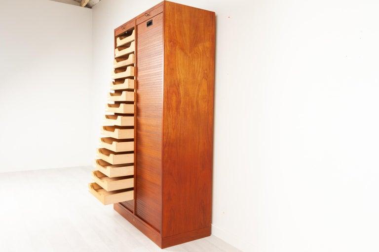 Mid-Century Modern Vintage Danish Teak Cabinet with Tambour Doors, 1960s For Sale