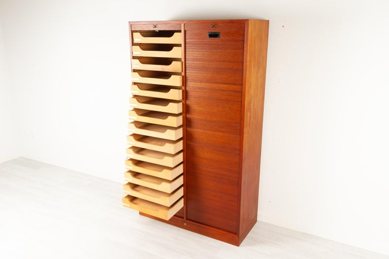 Vintage Danish Teak Cabinet with Tambour Doors, 1960s In Good Condition For Sale In Nibe, Nordjylland